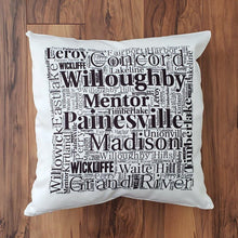 Load image into Gallery viewer, LAKE COUNTY OHIO Pillow - Subway design of towns that you may call HOME - Laughing Girl Design
