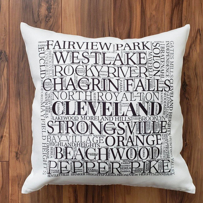 CUYAHOGA COUNTY OHIO - Cleveland-Suburbs Pillow - Laughing Girl Design