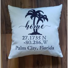Load image into Gallery viewer, GPS Longitude-Latitude pillow - Laughing Girl Design