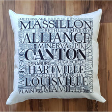 Load image into Gallery viewer, STARK COUNTY OHIO Pillow - Subway design of towns that you may call HOME