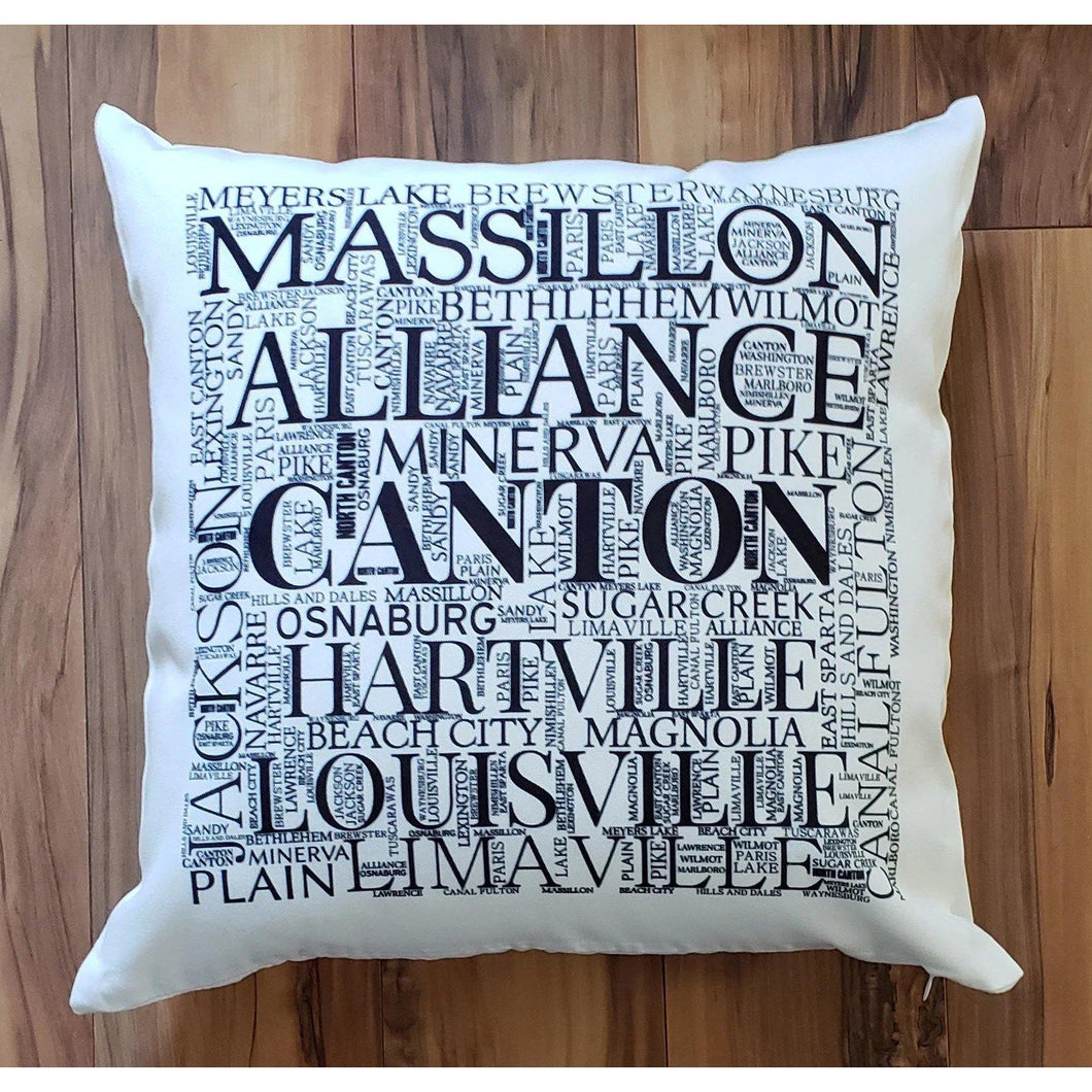 STARK COUNTY OHIO Pillow - Subway design of towns that you may call HOME