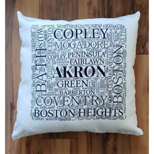 Load image into Gallery viewer, SUMMIT COUNTY OHIO Pillow - Subway design of towns that you may call HOME