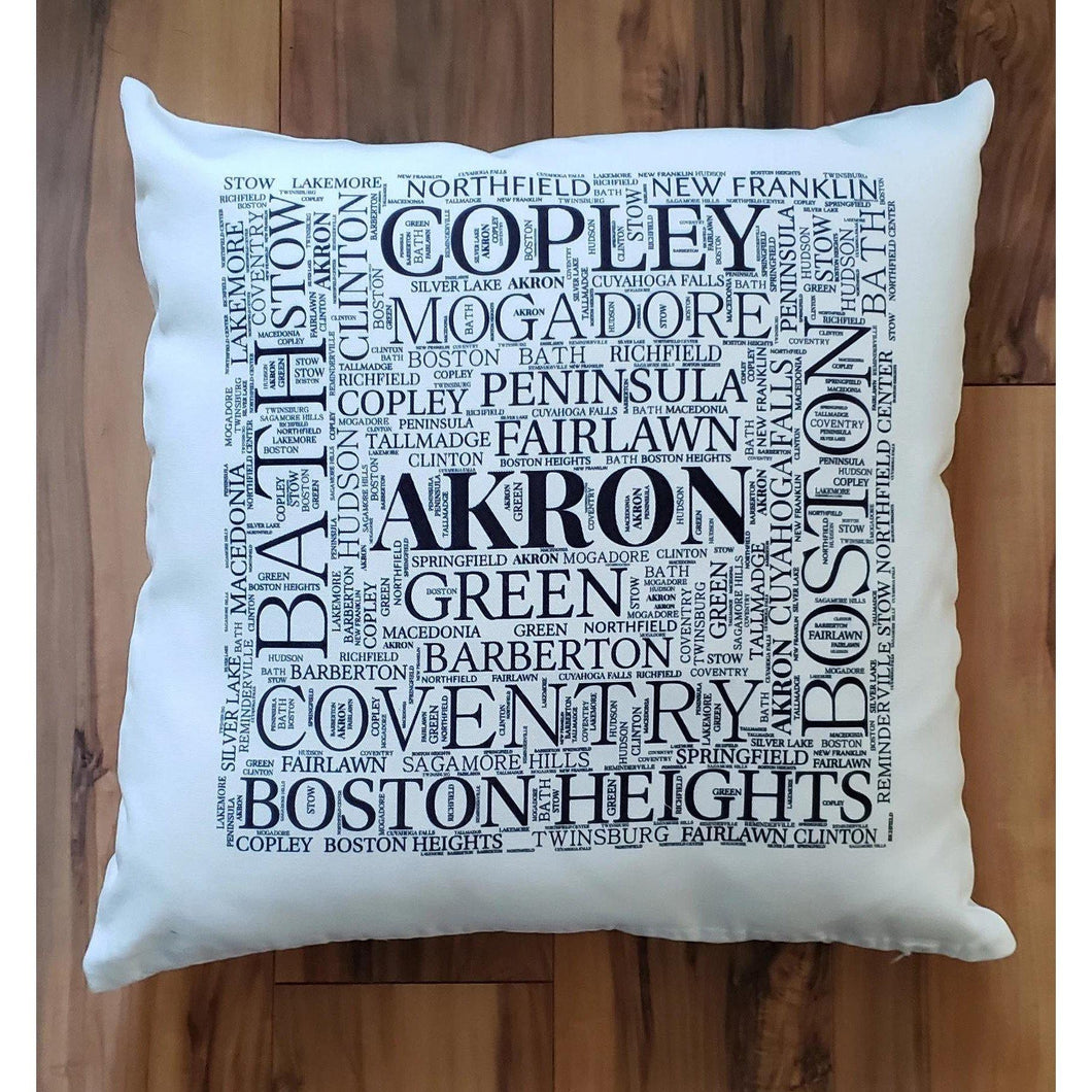 SUMMIT COUNTY OHIO Pillow - Subway design of towns that you may call HOME