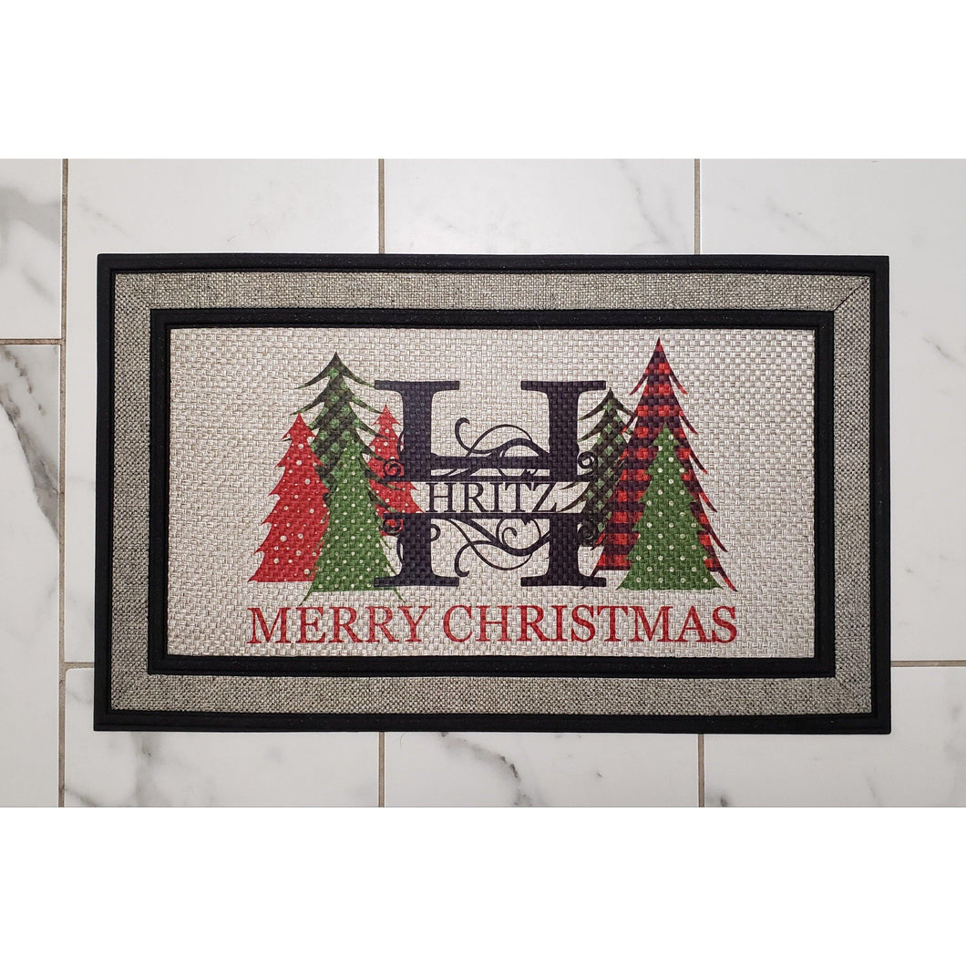 Welcome Mat- MERRY CHRISTMAS -Personalized - Laughing Girl Design