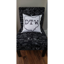 Load image into Gallery viewer, DTW pillow, Downtown Willoughby Ohio pillow - Laughing Girl Design
