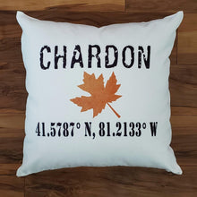 Load image into Gallery viewer, CHARDON, Ohio GPS Pillow, Longitude-Latitude - Laughing Girl Design