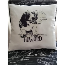Load image into Gallery viewer, Custom Pet Pillow, Single Color Pet Pillow, Personalized Pet Pillow, - Laughing Girl Design