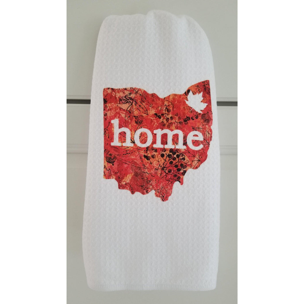 OHIO Home Fall Microfiber white Kitchen towel with Orange Pattern State of Ohio with Maple leaf in Northeastern corner