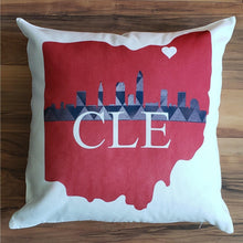Load image into Gallery viewer, Cleveland Skyline Pillow - Laughing Girl Design