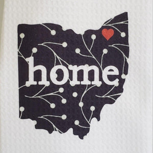 Black and White Ohio Kitchen Towel - Laughing Girl Design