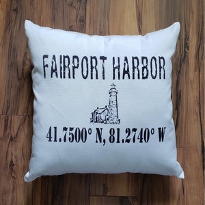 Fairport Harbor Ohio Lighthouse Pillow - Laughing Girl Design