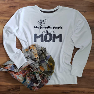 Personalized Mom Sweatshirt,My favorite people call me - Laughing Girl Design
