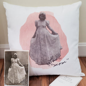 Remembrance Pillow with photo - Laughing Girl Design