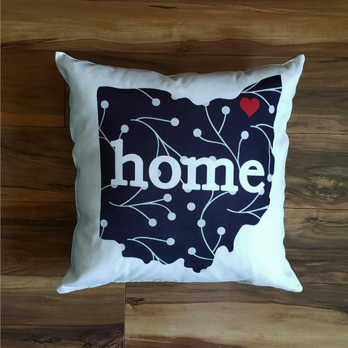 Black and White Ohio Pillow - Laughing Girl Design