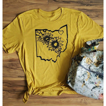 Load image into Gallery viewer, Ohio Sunflowers T Shirt- Heather Mustard - Bella Canvas - Laughing Girl Design