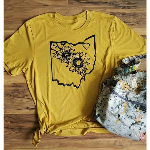 Ohio Sunflowers T Shirt- Heather Mustard - Bella Canvas - Laughing Girl Design