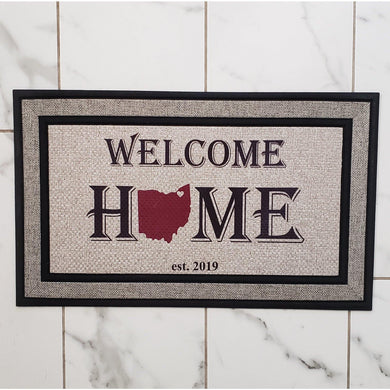 Welcome Mat -OHIO personalized Door Mat - Laughing Girl Design