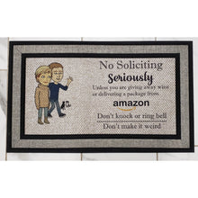 Load image into Gallery viewer, Welcome Mat -No Soliciting Door Mat - Personalized - Laughing Girl Design