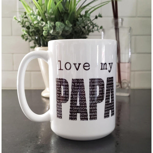 Personalized Dad mug, love my DAD - Laughing Girl Design