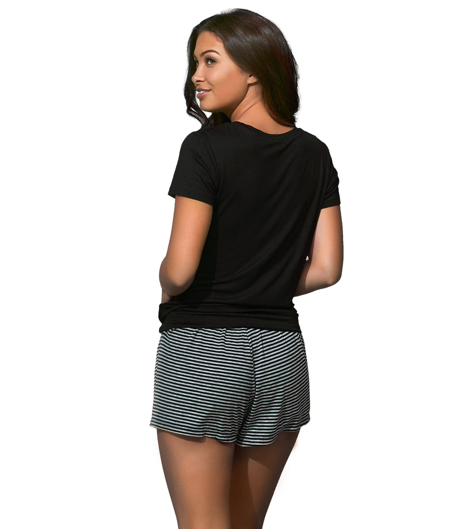 Katie Short Set in HEATHER GREY BLACK STRIPE