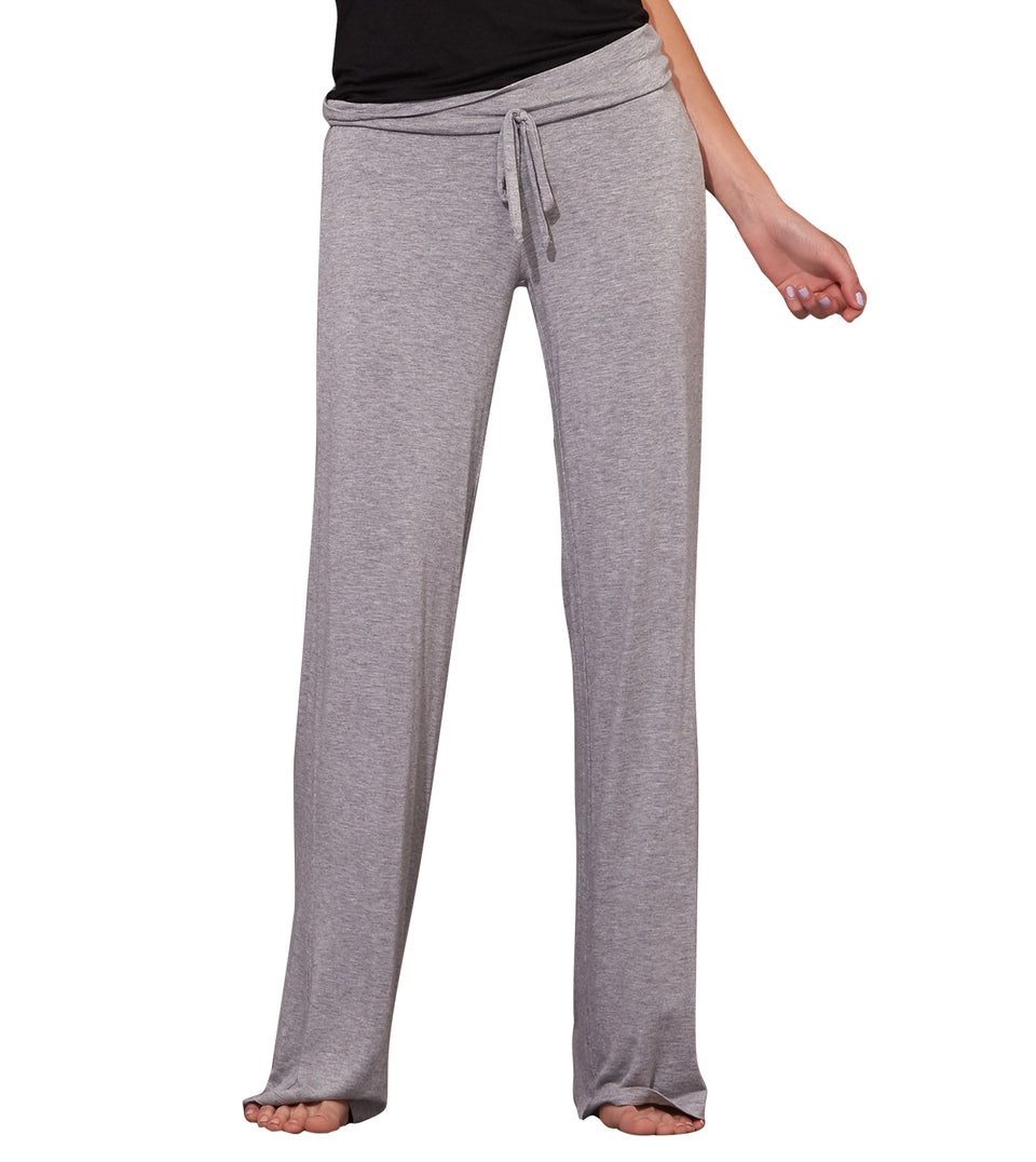 Wide Leg Drawstring Pant in HEATHER GREY