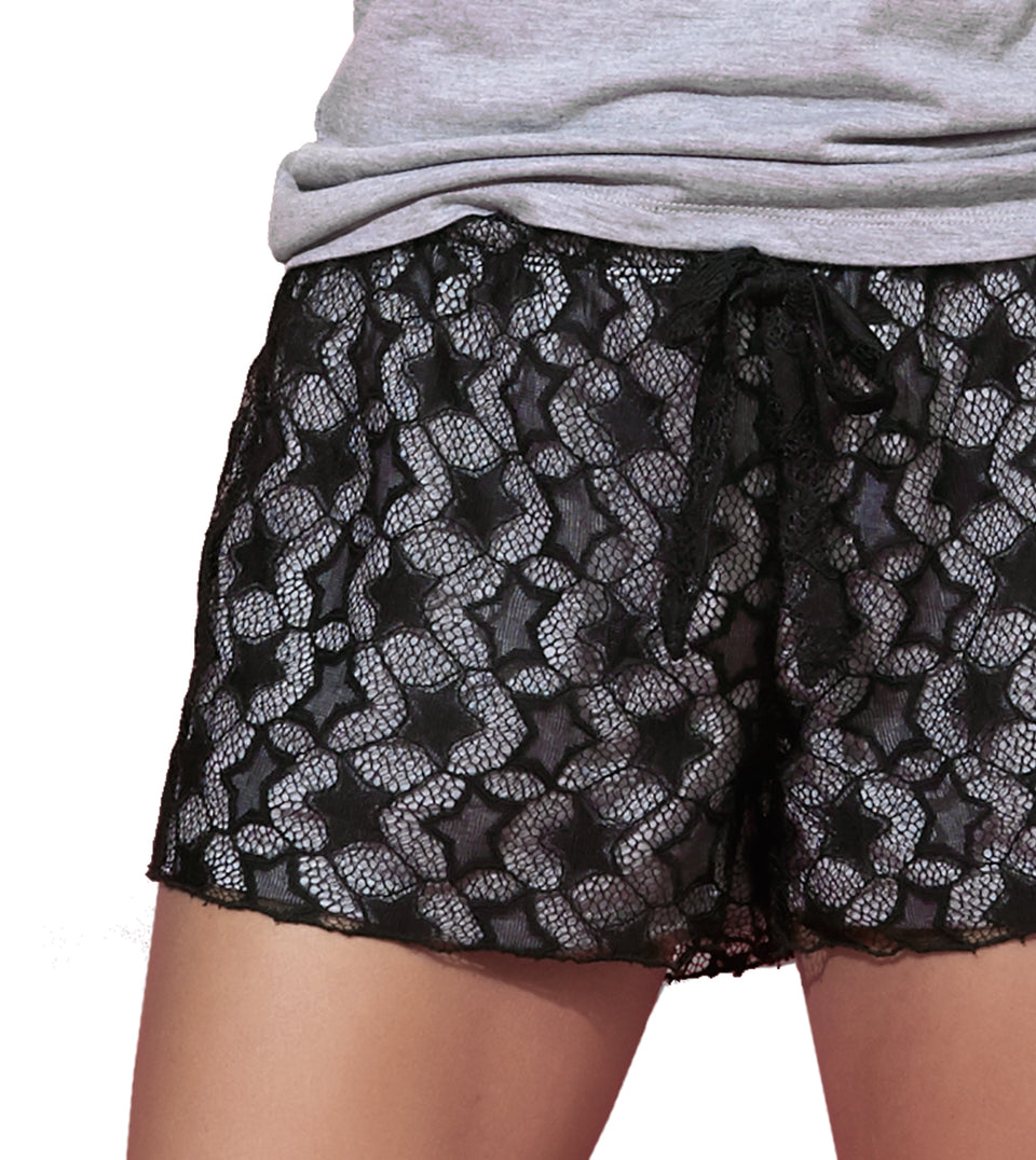 Selena Short Set in HEATHER GREY BLACK LACE