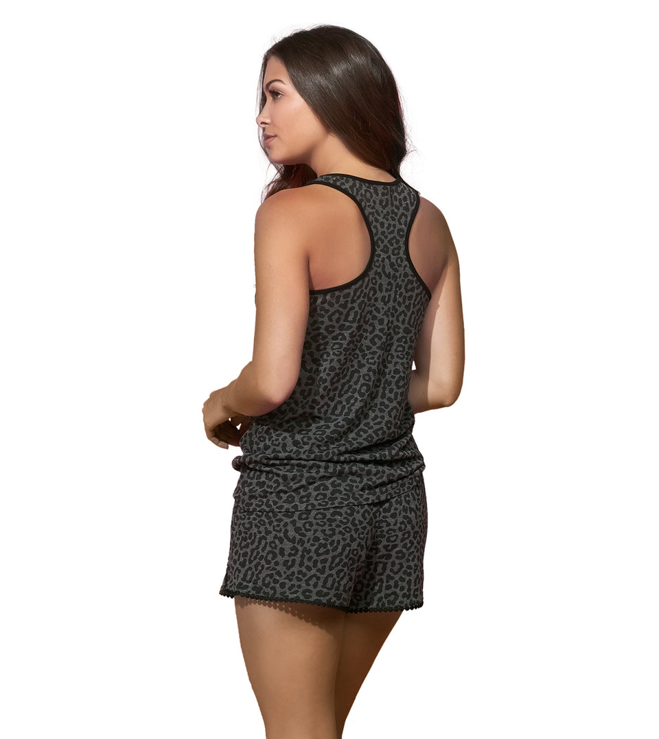 Burnout Tank Short Set in CHARCOAL LEOPARD