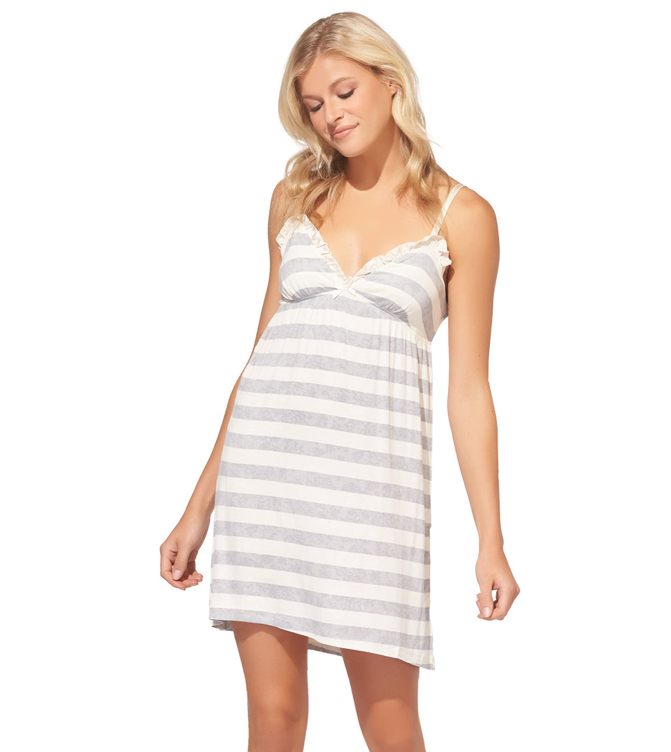 Chemise W/ Ruffle in Stripe Grey and Cream