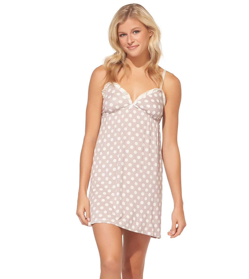 Chemise W/ Ruffle in Dot Taupe and Cream