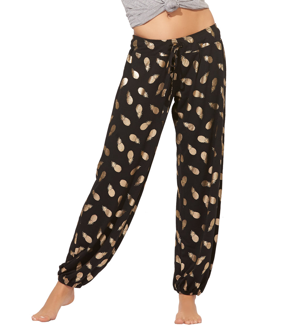 Teegan Pant in Gold Foil Pineapple