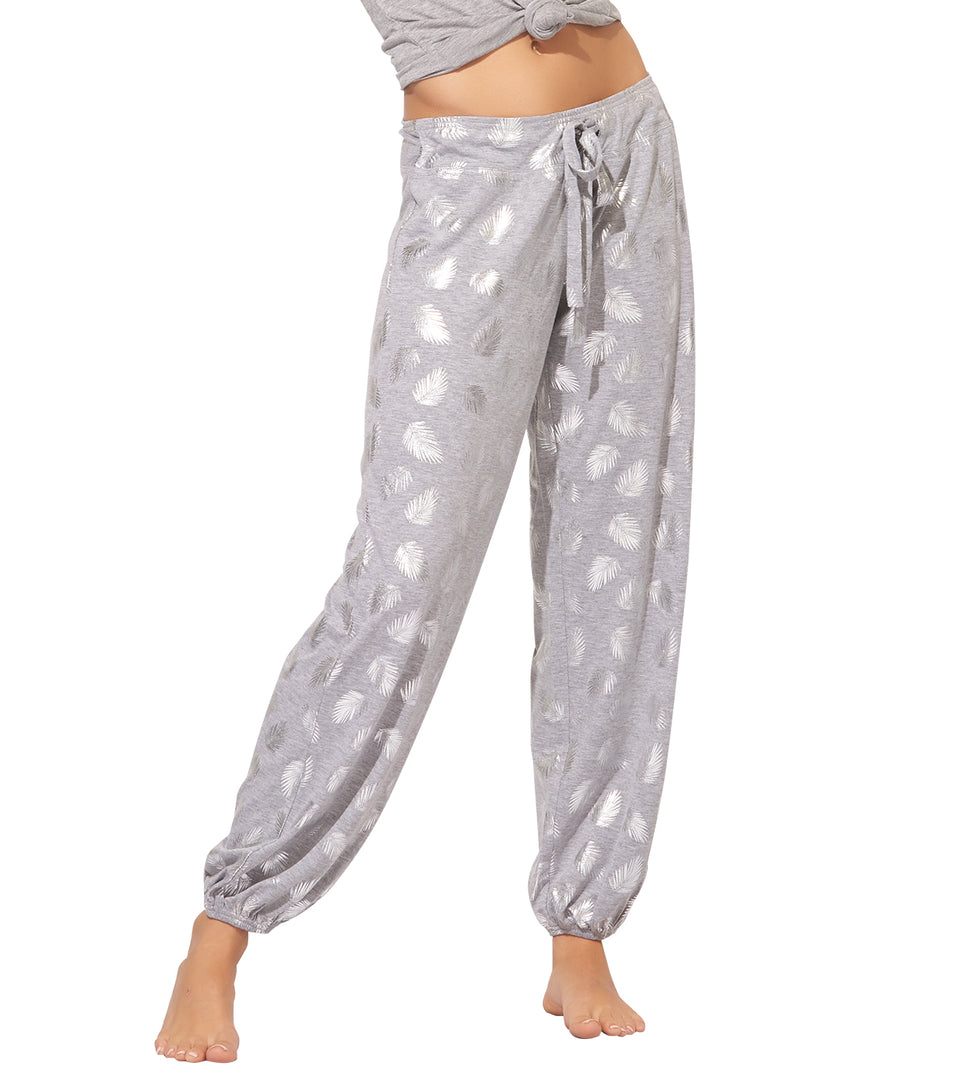 Teegan Pant in Silver Foil Palm