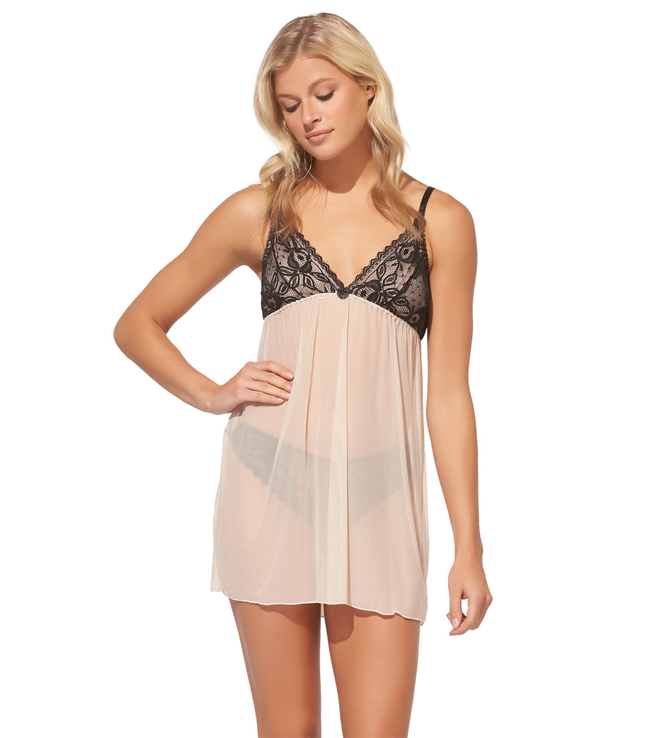 Color Scoop Babydoll Set in Sand Dollar Black Lace
