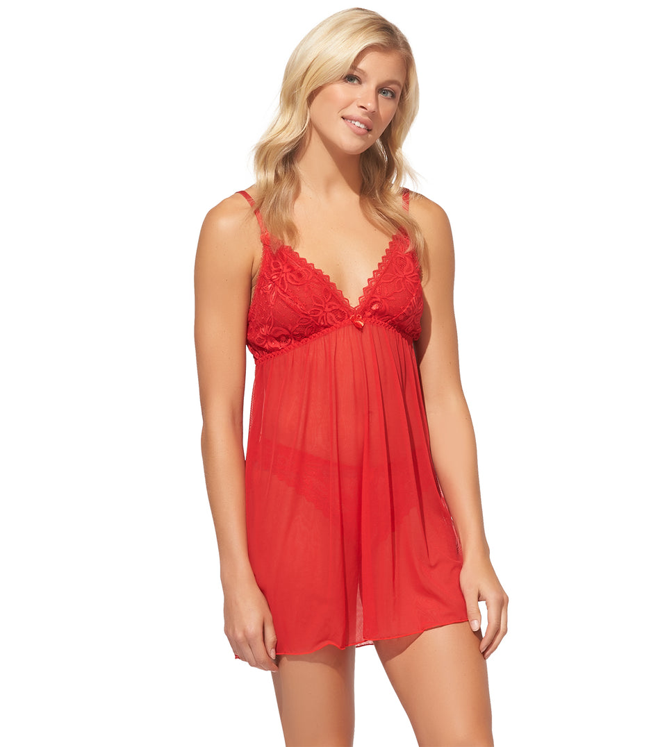 Color Scoop Babydoll Set in Tango Red