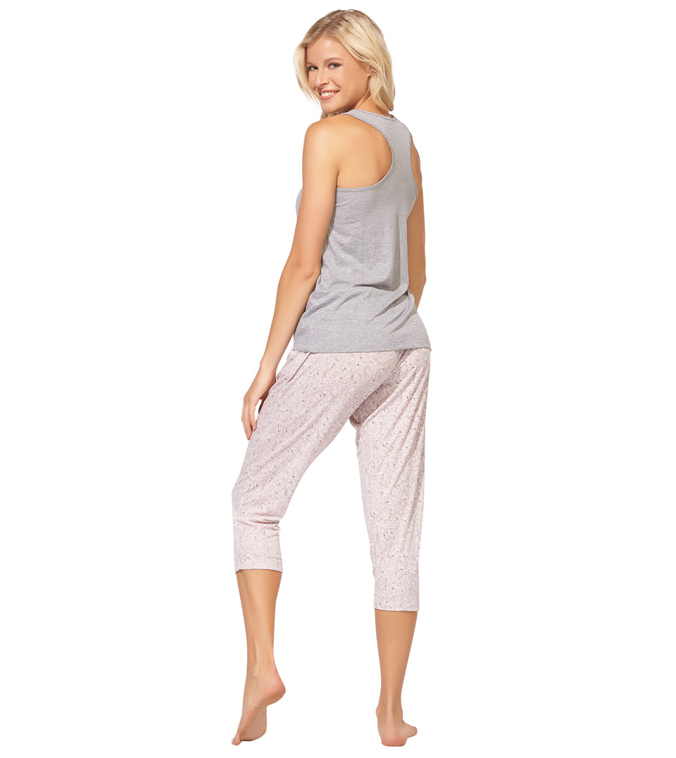 Nia Crop Pant Set in HEART WEEKEND