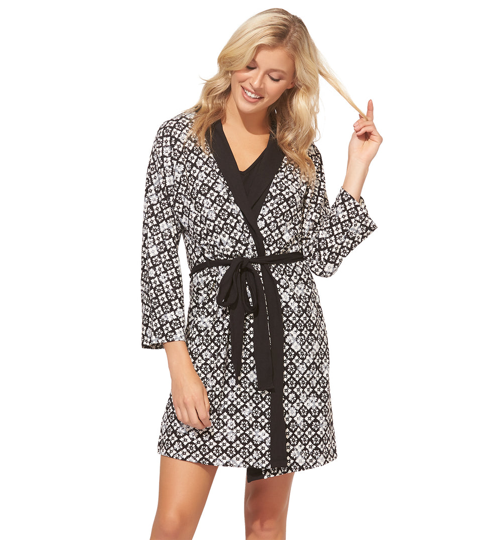 Kimmy Chemise Robe Set in FLORAL BLOCK