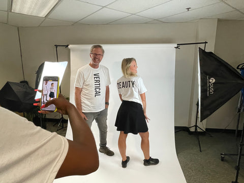Chelsea and Michael rocketing WEXIST VERTICAL T-SHIRT