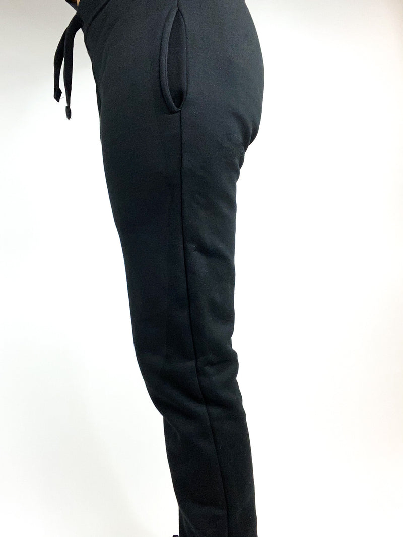 Black cotton fleece joggers for tall women and tall girls.