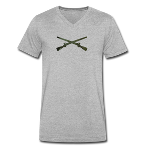 Men's V-Neck Infantry T-Shirt by Canvas - heather gray