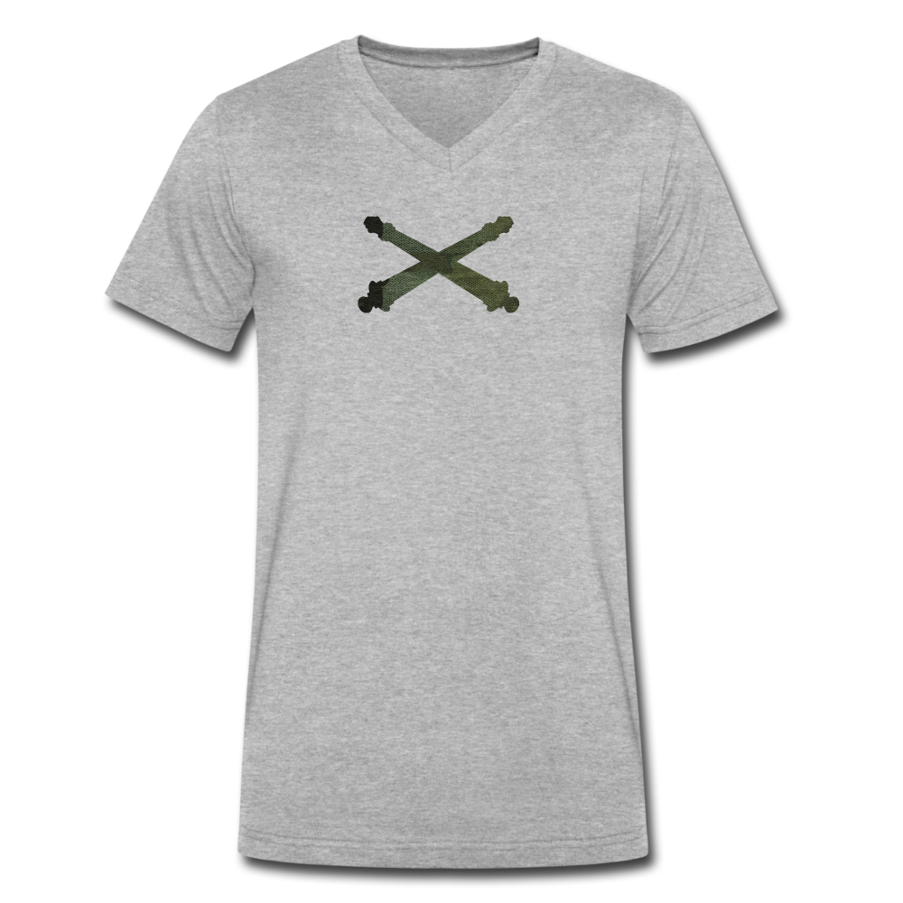 Men's V-Neck Field Artillery T-Shirt by Canvas - heather gray