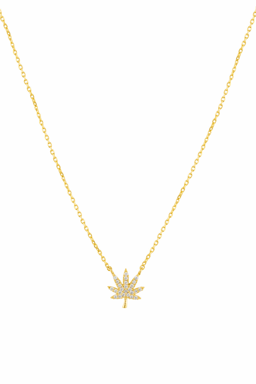 Gold Cannabis Dainty Necklace - Sugar Rose