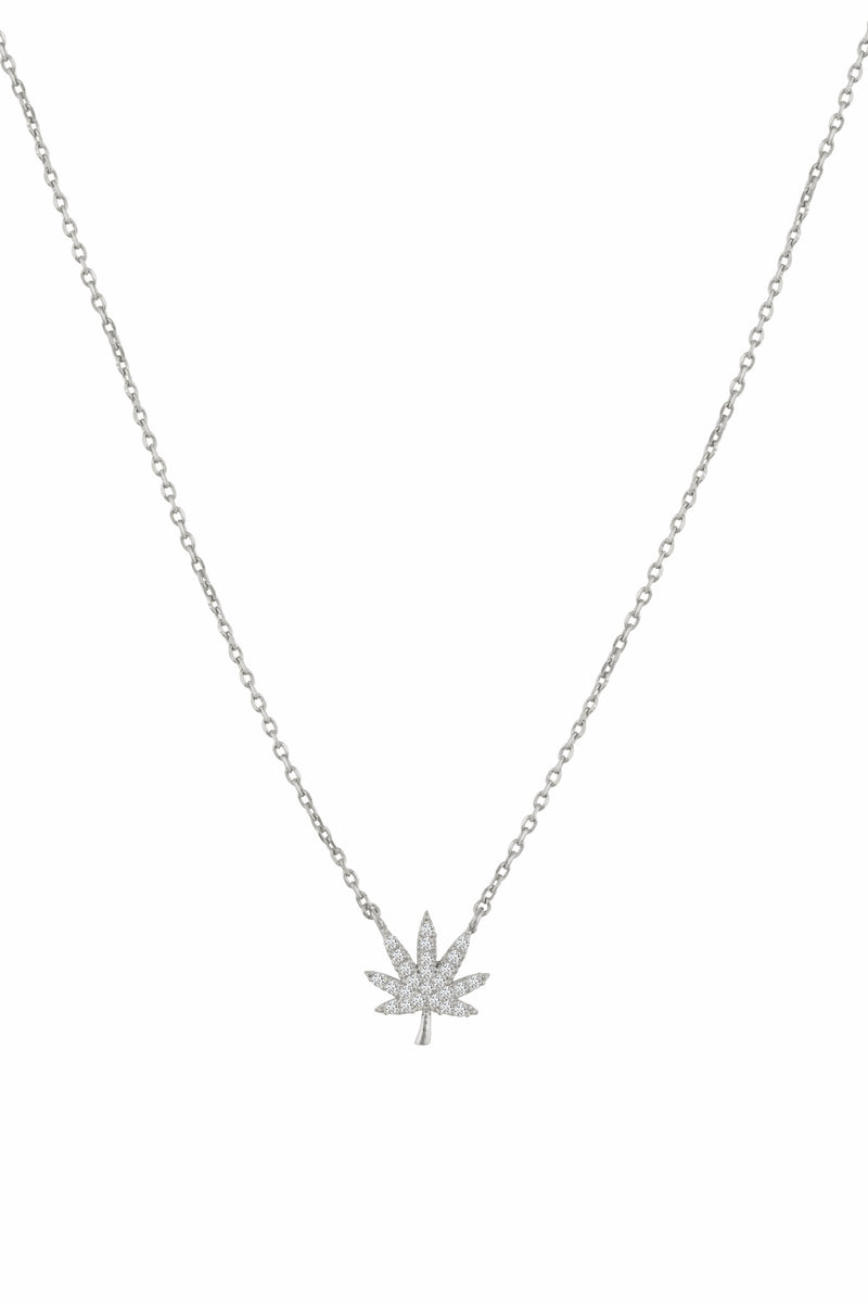 Dainty Silver Cannabis Necklace - Sugar Rose