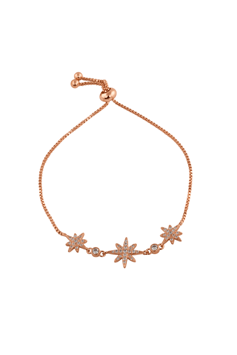Three Crystal Star Bracelet / Rose Gold - Sugar Rose