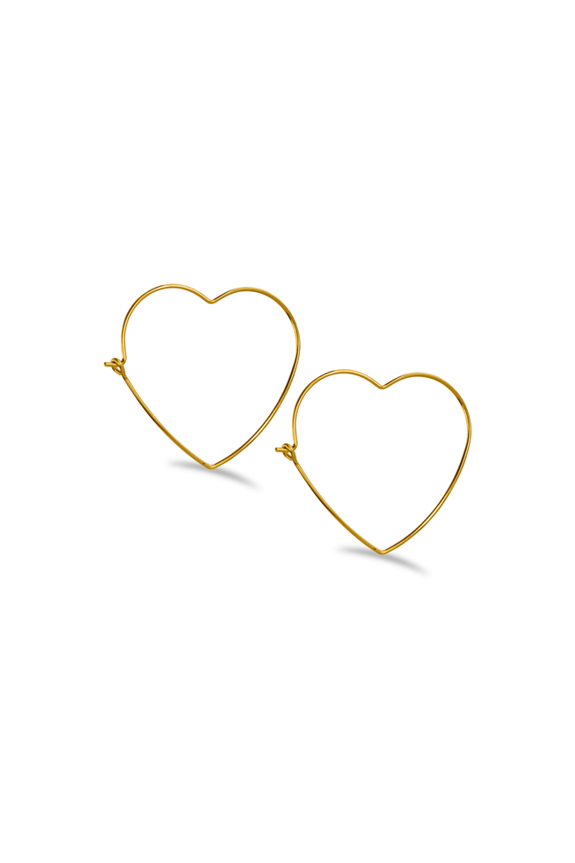 Heart Shaped Hoop Earrings / Gold - Sugar Rose