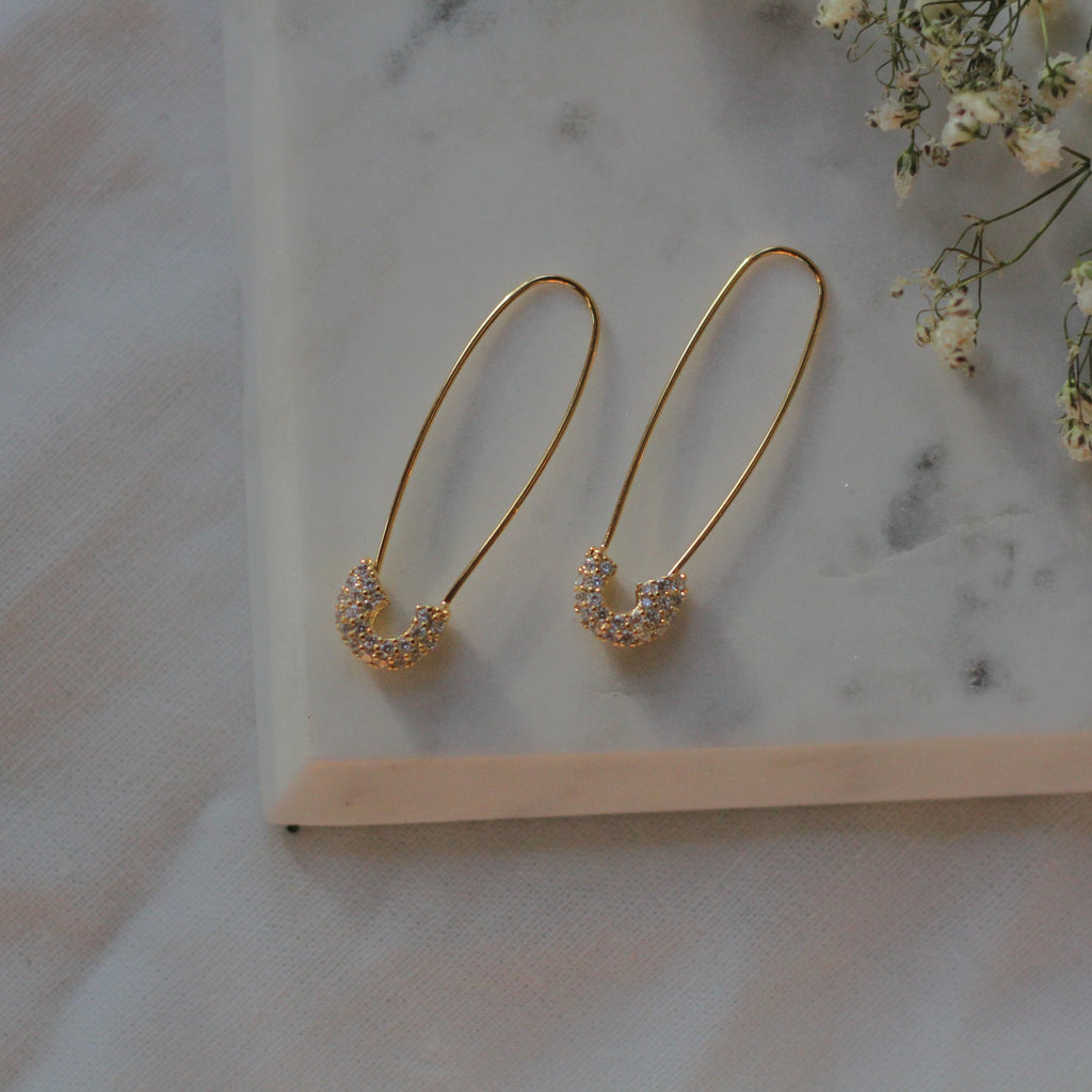 CZ Safety Pin Earrings