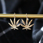 NEW Marijuana Leaf Dangle Earrings / Gold Dipped Earrings