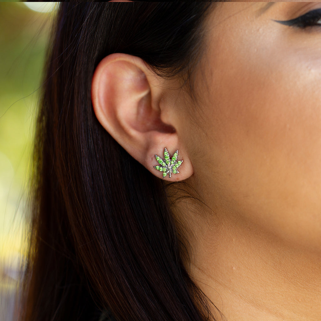 Cannabis Stud Earrings - Sugar Rose