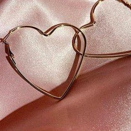 "Heart Hoop Earrings Gold Dipped 3"" - Sugar Rose"