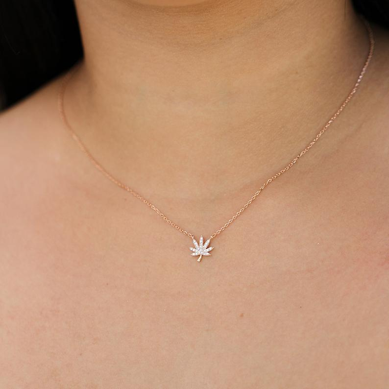 Rose Gold Cannabis Necklace - Sugar Rose