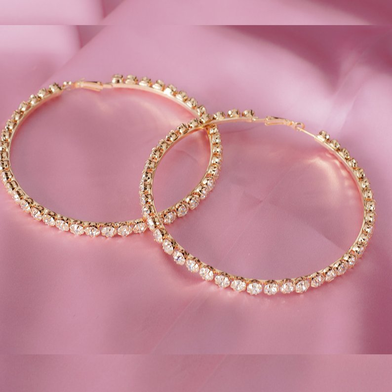 "Hoop Dazzle Earrings ""4"" - Sugar Rose"