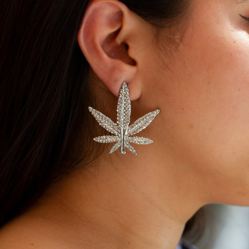 Cannabis Drop Rhinestone Earrings - Sugar Rose